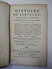 RARE 1785 Histoire de Kentucke - French - History of Kentucky - Important Book