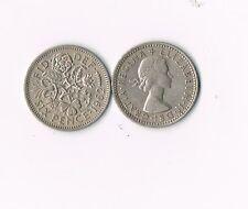 LOT OF 5 BRITISH WEDDING SIXPENCE COINS Elizabeth II  UK ENGLAND