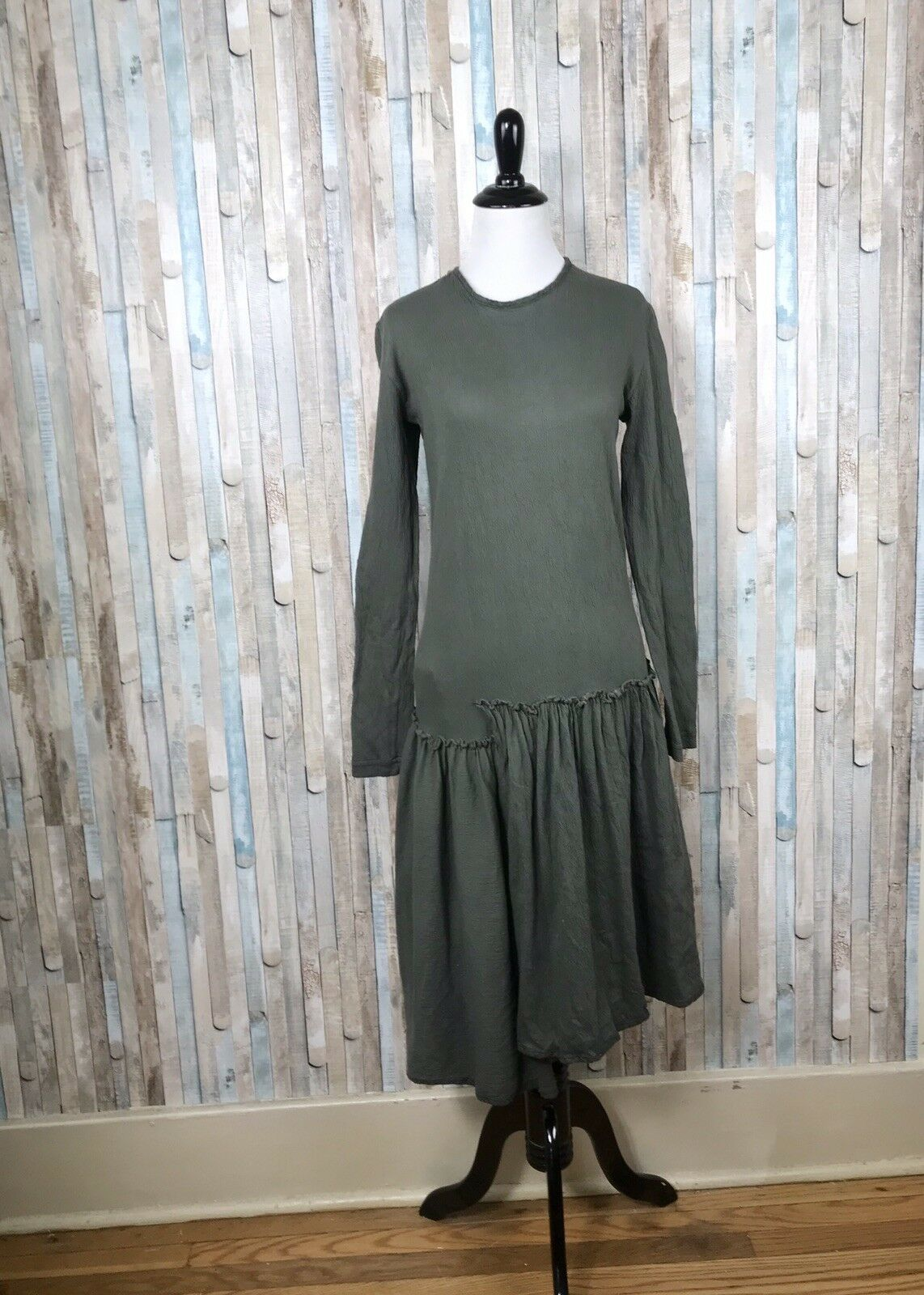 Cynthia Ashby S Olive Olive Olive Green Layered Asymmetric Knit Dress Lagenlook Art To Wear 4d725e