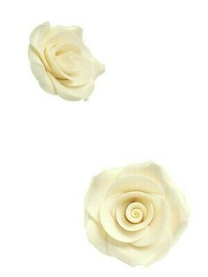 Adattabile Rose In Zucchero Piccole Avorio Brillantinate 2,5 Cm 8pz