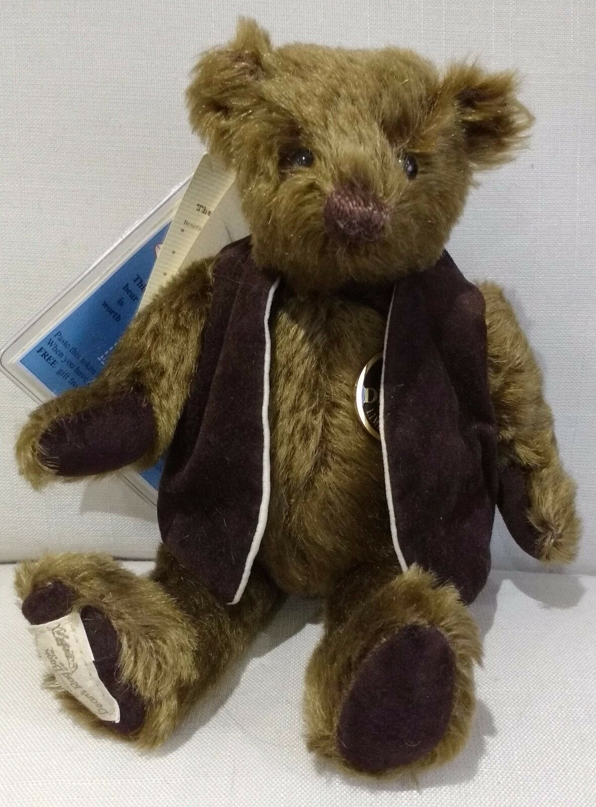 DEANS MOHAIR TEDDY BEAR - - - GRAVY braunING - NO 57 OF 500 - NEW WITH TAGS d8714a