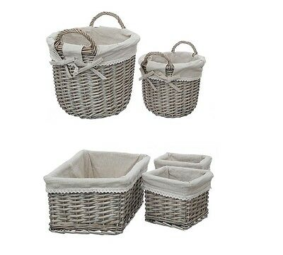 Mesa Baskets Willow Fabric Lining In Set Of 2 And Set Of 3 Kitchen Storage New