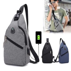 Men Canvas Messenger USB Bags Casual Travel Crossbody Chest Pack Shoulder Bags