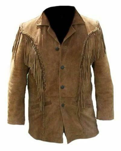 Mens Western Suede Leather Wear Cowboy Fringe Style Native American Coat Jacket
