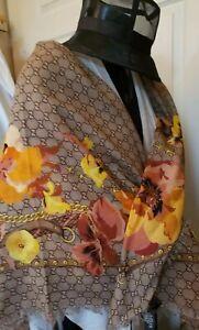 Gucci-Women-039-s-Shawl-Big-Panshie-GG-Sun-Beige-Wool-Flower-Motif-Scarf-NWT-Italy