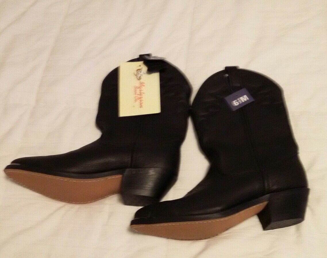 Black Leather Western Women's Boots sz 6.5 M Masterson Boot Co. NWT  199