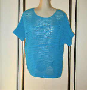 Chico-039-s-Sweater-3-XL-Loose-Open-Knit-Teal-Blue-Pullover-Short-Sleeves-Ribbed