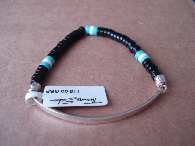 THOMAS SABO Sterling Silver LOVE BRIDGE Bracelet Obsidian Agate Turquoise Beads