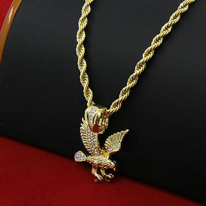 36dffc8a7e3 Mens 14k Gold Plated Hip-Hop Clawed Eagle Pendant 30