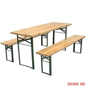 Set birreria in legno tavolo con 2 panche cm for Set birreria offerta