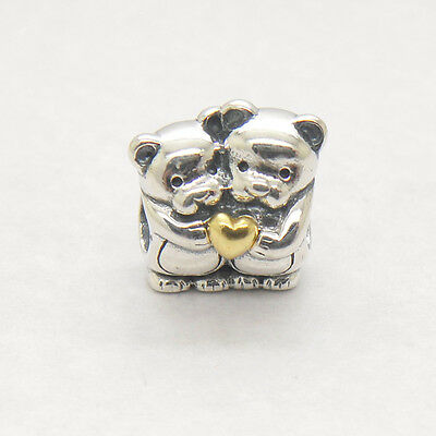 New Love Bear Hug With 14k Yellow Gold Heart 925 Sterling Silver charm beads
