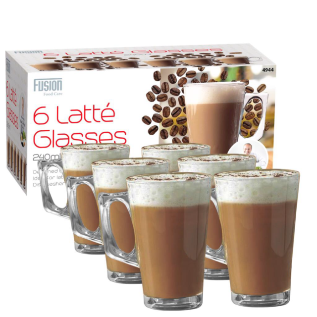 6 Set of 240ml Clear Tall Costa Cappuccino Coffee Tea Latte Glass Mugs Cups