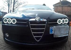 Alfa-Romeo-159-BRERA-SPIDER-COB-LED-HALO-angel-eyes-headlight-kit-UK-Seller-939