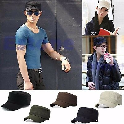 New Classic Plain Vintage Adjustable Army Military Cadet Style Cotton Cap Hat