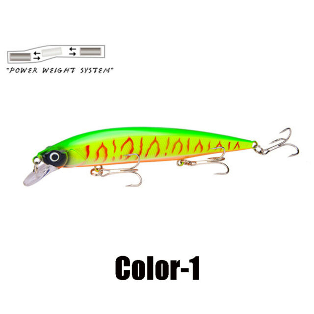 15 Colors Lots Fishing Lures Hard Bionic Bait Hooks Bass Crankbaits Minnow Lures