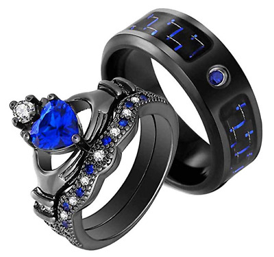 His Titanium and Her Blue Cz Black Plated Bridal Engagement Wedding Ring Set