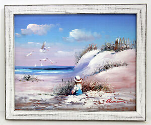 Child-at-Beach-Seascape-8-X-10-Oil-Painting-Distressed-Custom-Frame-Ship-Free