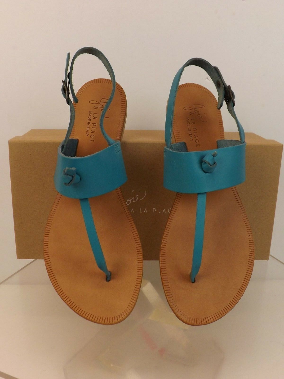 NIB JOIE BASTIA BLUE LAGOON LEATHER THONG FLAT SANDALS 38 $135 ITALY