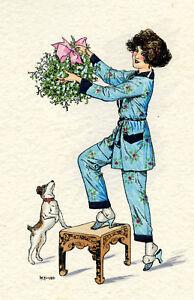 1930s-French-Pochoir-Artdeco-Print-Herouard-Girl-W-Little-Puppy-Dog-Mistletoe