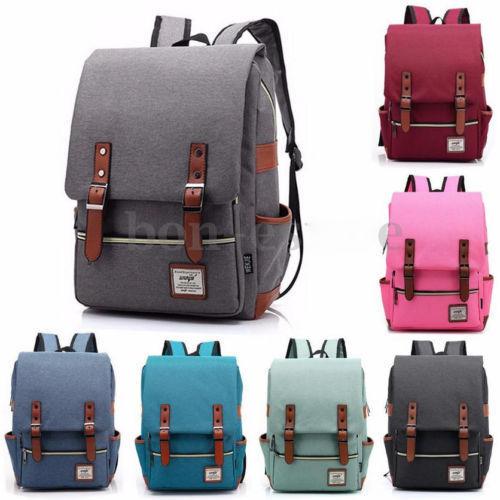 c49d3817856 Men Women Vintage Backpack Rucksack School College Travel Laptop Work Bag  ILC