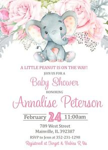 Elephant Baby Shower Invitation Floral Pink Girl Elephant