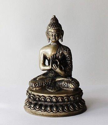Heavy Brass Tibet Buddhism Buddha Sitting Mudra Statue Bhaisaya Bodhisattwa Mark