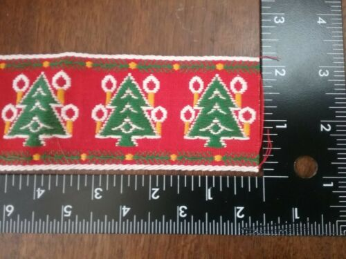 Vintage Christmas  ribbon  trim 2 inches tall cotton by the yard matte finish