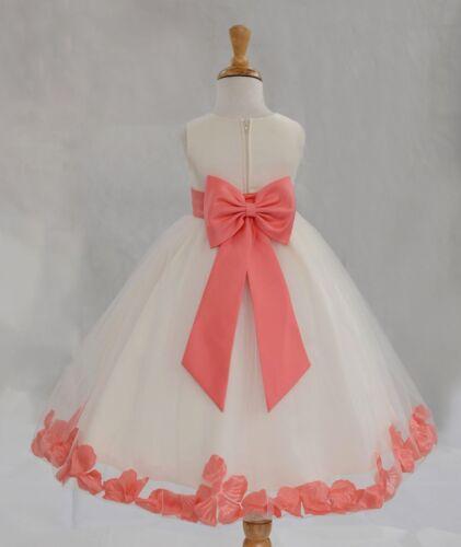 Flower Girl Dress Rose Petals Dresses Communion Dress Wedding Pageant Dresses