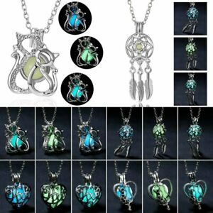 Magic-Luminous-Cats-Lotus-Glow-in-The-Dark-Locket-Pendant-Necklace-Women-Men-Hot