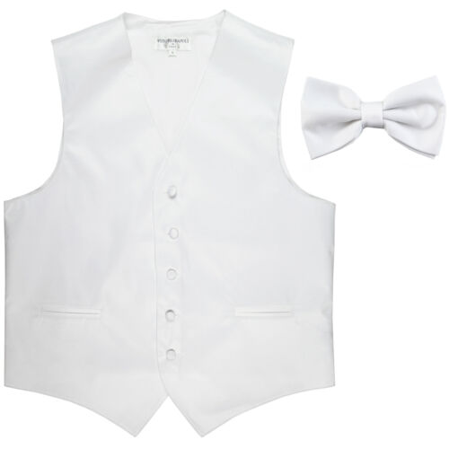 New Men/'s Formal Vest Tuxedo Waistcoat/_pre tie bow tie solid slim fit White