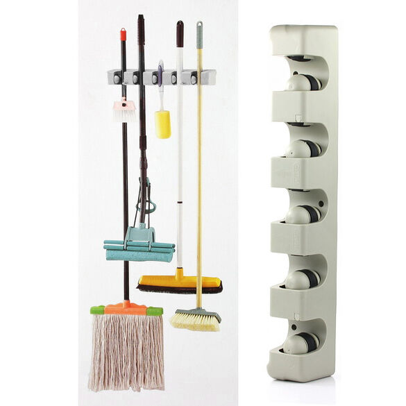 5 Rack Home Kitchen Mop Broom Holder Wall Mounted Organizer Storage Hanger Tools