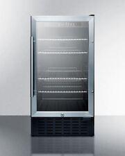 """Summit 18"""" Wide Built-in ADA Beverage Cooler with Glass Door -Stainless"""