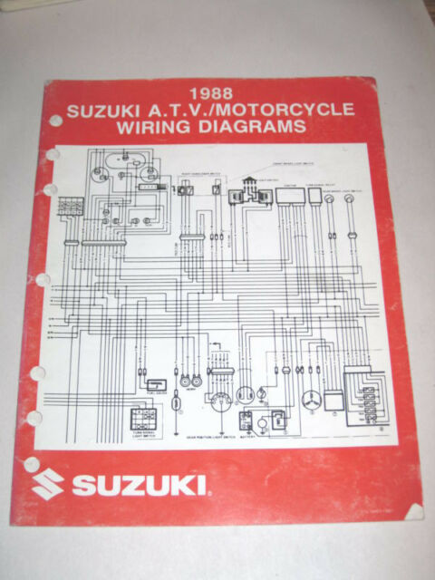 Official 1988 Suzuki Wiring Diagram Manual Atv Motorcycles