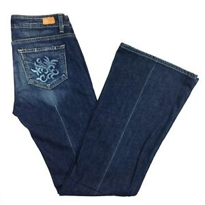 Denim Jeans 28 Moyenne Flare Flare Taille Robertson Leg Paige Stretch Taille Dark zdwx7qwR
