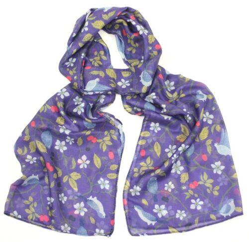 Da Donna con uccellino albero bacche Giardino Viola Stampa Morbida Sciarpa Wrap di grandi dimensioni