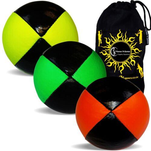 Travel Bag Set of 3 3x SQUEEZE 8 Panel UV THUD Professional Juggling Balls
