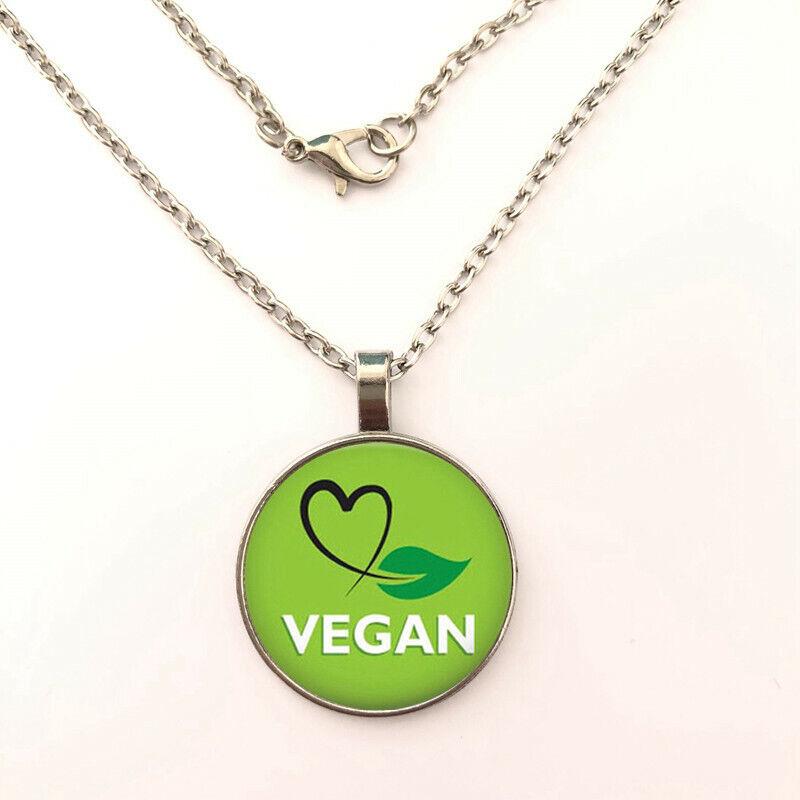 New Arrival Vegan diet Cabochon Bronze Glass Chain Pendant Necklace Jewelry