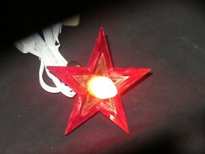 Glo-Star-Christmas-Tree-Topper-Light-Lighted-Lucite-Vintage-Green-Red-On-A-Lite