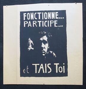 TOTE BAG sac sérigraphié JE PARTICIPE affiche MAI 68 poster may 1968 TU..