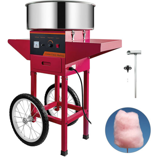 Floss Maker Red Cart Stand Electric Commercial Cotton Candy Machine