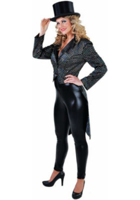Ladies Tailcoat - Deluxe BLACK / SILVER SEQUIN , Cabaret / Chaplin / Dance