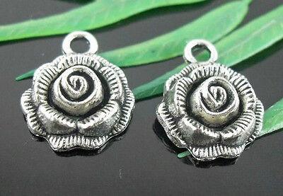 32/110Pcs Tibetan Silver Flower Charms Pendant 17.5x14mm