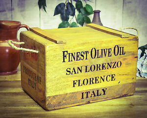 Finest Olive Oil Chest Street Price Vintage Antiqued Wooden Box Crate