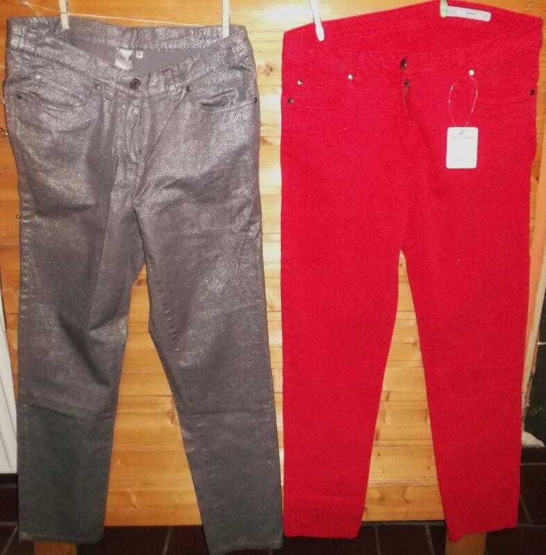 2 Paar Jeans Rot Und Silber Gr.44-neu