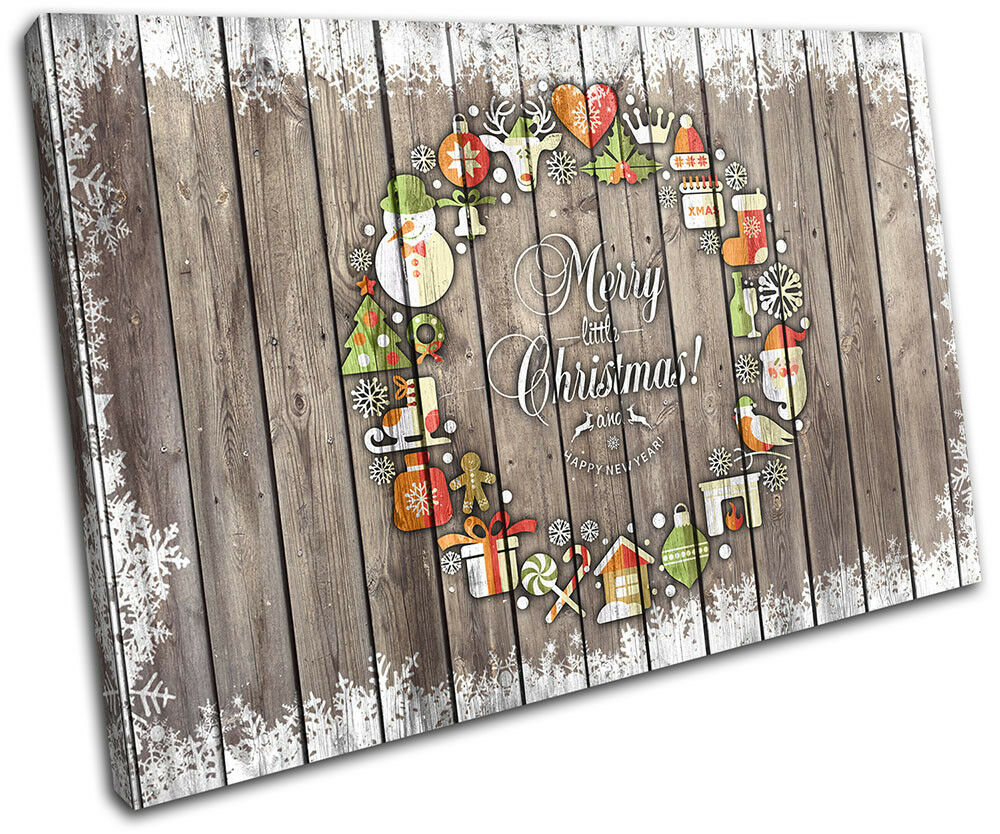 Christmas Decoration Wall Canvas ART Print XMAS Picture Gift Wood 13  Christmas