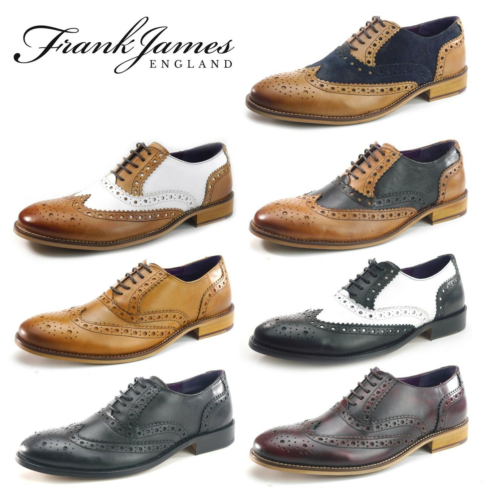 Frank James Redford Mens Leather Lace Up Wingtip Evening Brogue Shoes