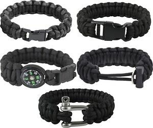 Image is loading Black-550-Military-Paracord-Bracelet-Emergency-Survival -Campers- b079cf2372d