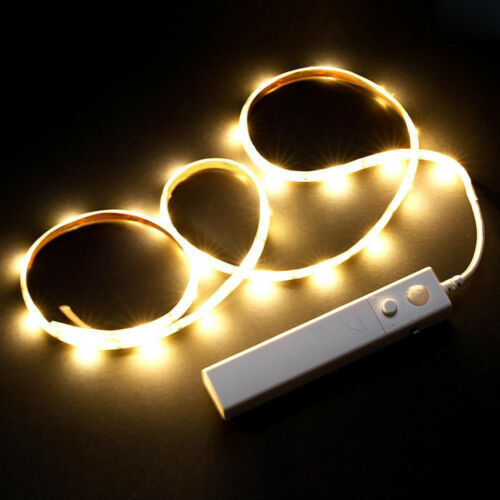 Batterie 30 LED Nachtlicht Bewegungsmelder Sensor Wall Wardrobe 1M Strip Lampe