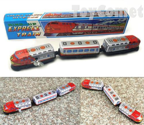 MS069 Express Train 3 Car Retro Clockwork Wind Up Tin Toy w//Box