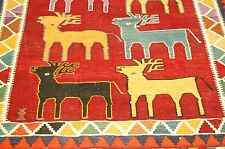Circa 1920s ANTIQUE PERSIAN SHIRAZ QASHKAI KILIM FLAT WOVEN NOMADIC RUG 4.8x7.6